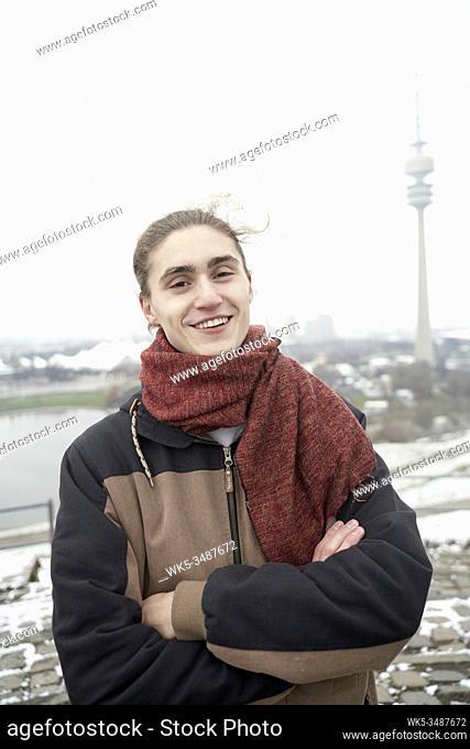 man on Olympiaberg, Olympiapark, Munich, Bavaria, Germany