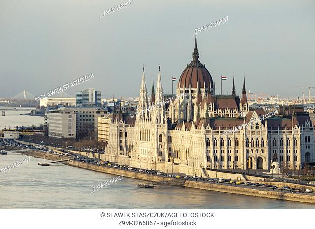 Sunset at the Hungarian Parliament in Budapest, Hungary
