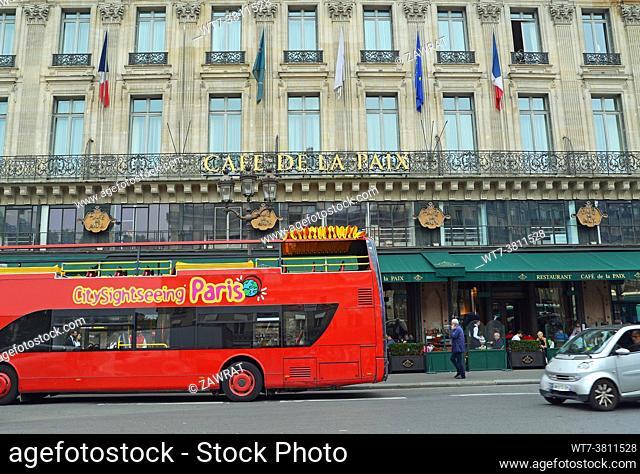 Cafe de la Paix, Place de l Opera, 9th. arrondissement, Alfred Armand, architect, . Grand Hotel, decorations, historic location, hospitality