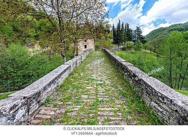 Old bridge and house in a sunny day, Campigna, Casentinesi forests, Emilia-Romagna, Italy