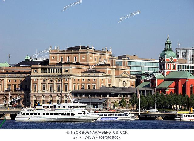 Sweden, Stockholm, Opera, Jakobs Church, harbour, boats