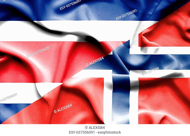 Waving flag of Norway and Costa Rica