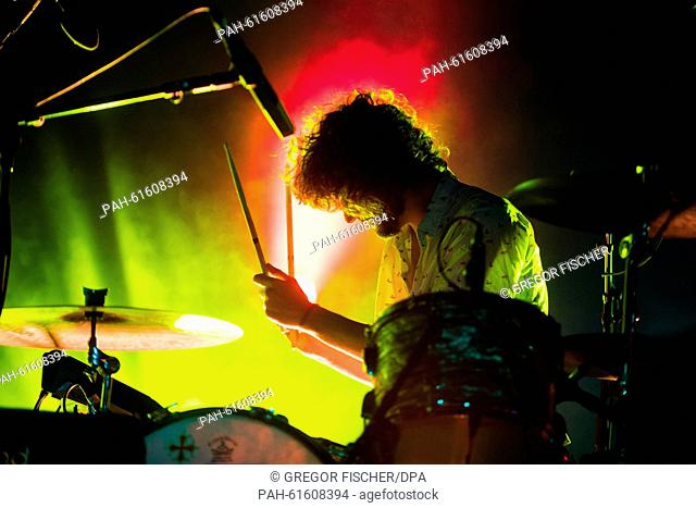 Drummer Julien Barbagallo of the band Tame Impala performs on stage at the Lollapalooza Festival on the grounds of the former Tempelhof airport in Berlin