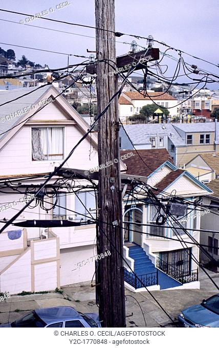 San Francisco, California - Visual Pollution, Bernal Hills District  Telephone and Electric Wires Interfere with the View from the Living Room of this House in...