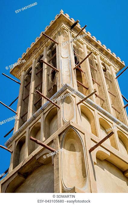 Wind Tower in Dubai Traditional Area of Bastakiya in Bur Dubai