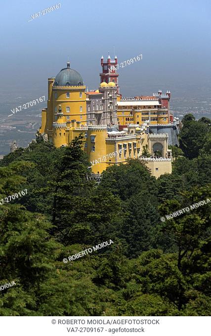The colorful and decorated castle Palácio da Pena on top of hill São Pedro de Penaferrim Sintra Lisbon district Portugal Europe