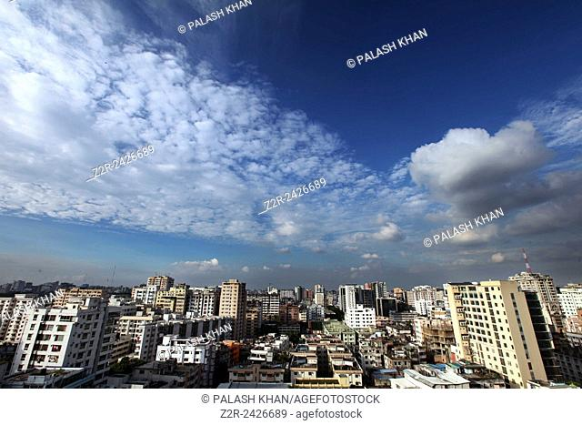 A top view of Segunbagicha area of the Dhaka city. Dhaka, Bangladesh. 27 October 2013. Photo by palash khan