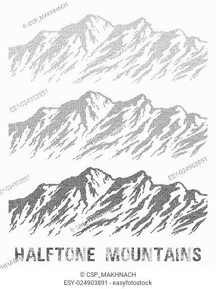 Halftone nountain range set