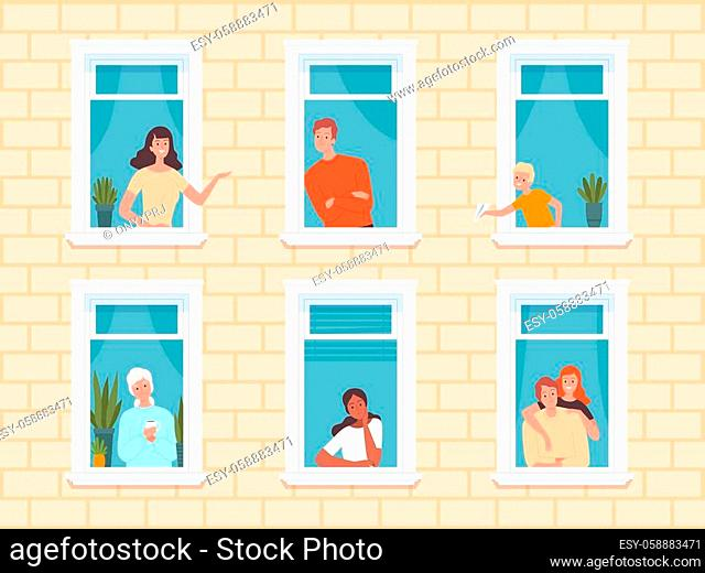 Window people. Happy neighbourhoods characters looking from windows frame in big house standing near walls and curtains. Vector persons happy in apartment