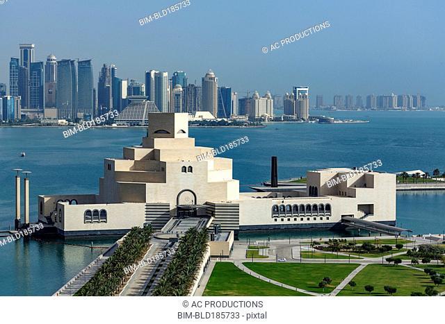 Doha Museum of Islamic Art in harbor, Doha, Qatar