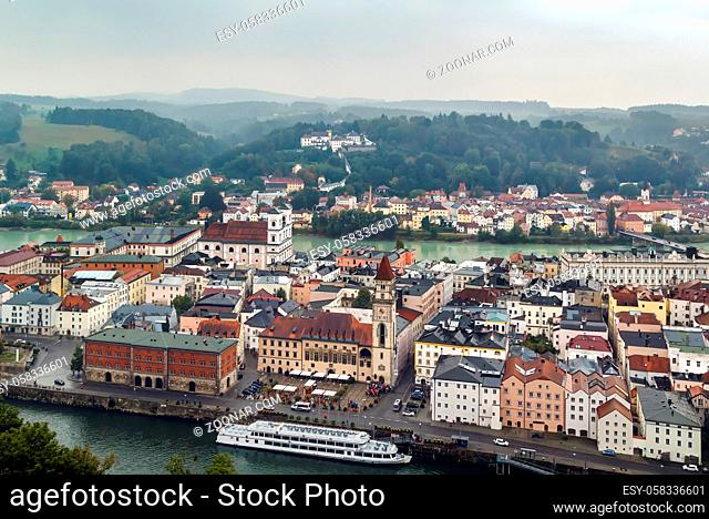 view of Passau from Fortress Veste Oberhaus, Germany