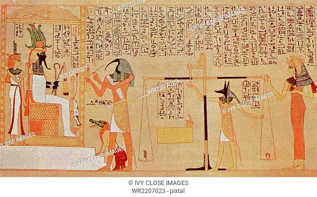 This illustration was common in tombs in ancient Egypt. It shows the judgment before the god of the underworld Osiris, and is a vignette from the funerary...