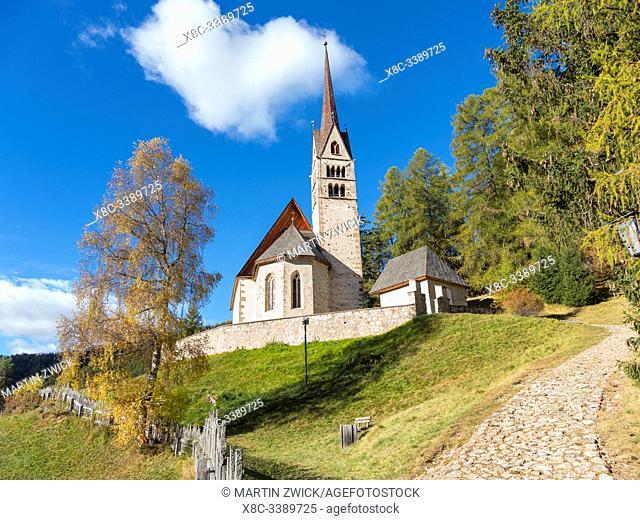 Church San Giuliana. Vigo di Fassa (Vich) in valley Val di Fassa in the Dolomites. Europe, Central Europe, Italy