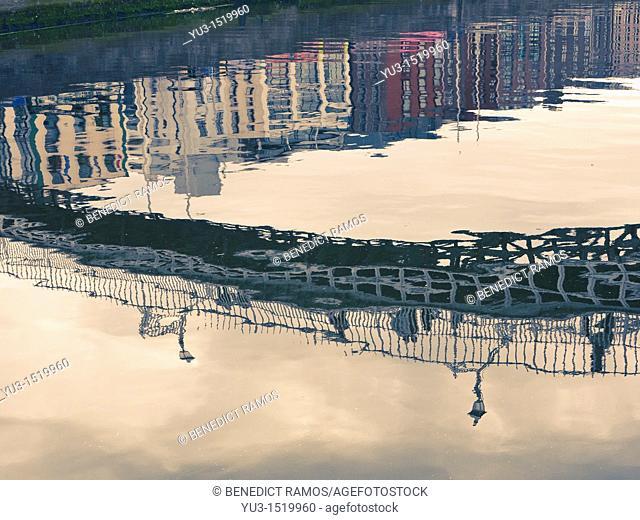 Reflection of the Ha'penny Bridge in the River Liffey, Dublin, Ireland