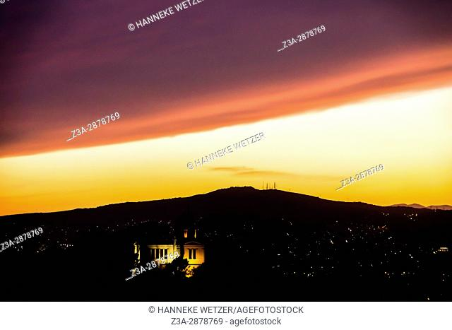 Sunset view from the Areopagus hill in Athens, Greece, Europe