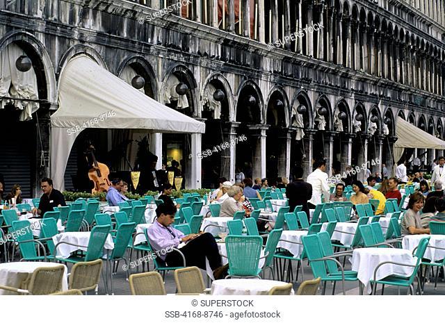 Italy, Venice, San Marco Quarter, St. Mark's Square, Cafe