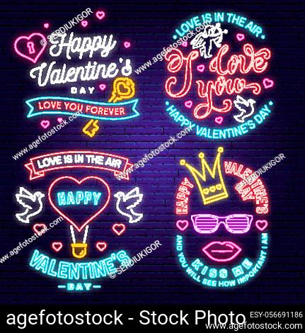 Set of Happy Valentines Day neon greetings card, flyers. All you need is love. Stamp, badge with heart, dove, key and hot air balloon. Vector