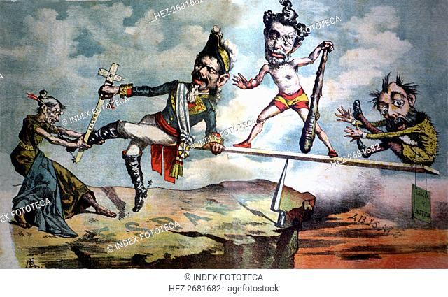 Satirical caricature of the Sagasta Government 'Tirando la oposición da al traste', published in ?