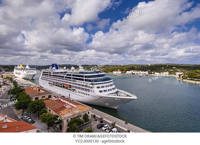 Cruise ships at the port at Mahon , Menorca , Balearic Islands , Spain