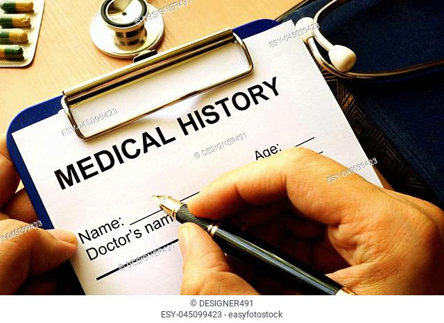 Medical history form in a clipboard