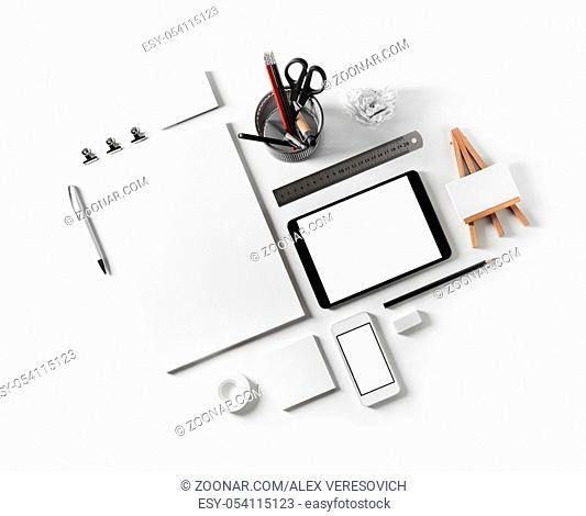 Blank stationery set on white paper background. Corporate identity mockup. Responsive design template