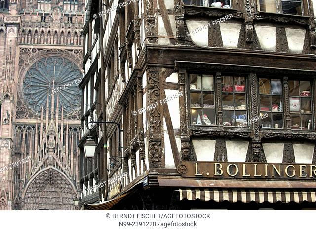 Strasbourg, frame house beside gothic cathedral, Alsace, France