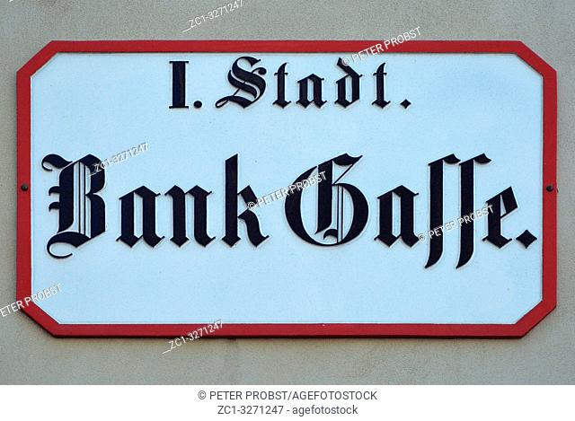 Street sign of the square Bankgasse in Vienna - Austria