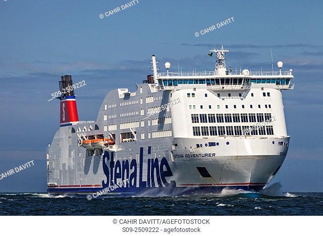 The Stena Lines Stena Adventurer Ro Ro car ferry navigating across Dublin Bay, Dublin, Ireland