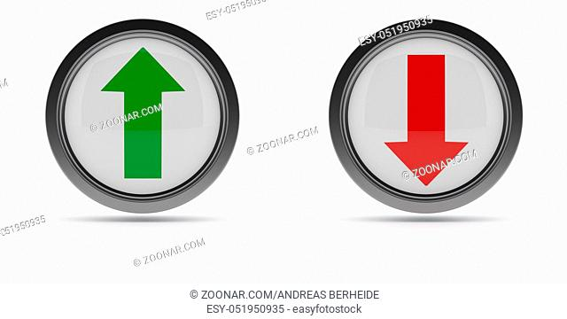 Steel buttons with up and down arrow on a white background, 3d rendering