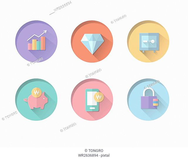 Various button icons related to business