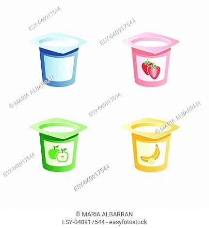Yogurt flavors with spoon inside on white background