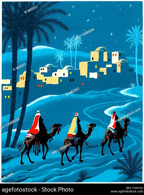 Three Kings on their camels approaching Bethlehem, with palm trees and starry sky, entitled 'Little Town of Bethlehem'