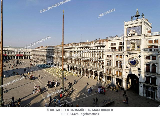 View from the San Marco's basilica to the Piazza San Marco with the bell tower Torre dell Orologio, Venice, Venezia, Italy, Europe