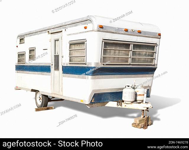 Classic Old Camper Trailer Isolated on White
