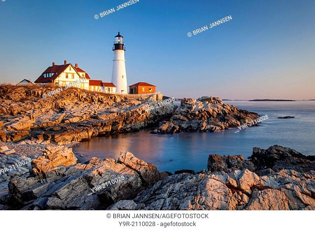 Winters dawn at Portland Head Lighthouse near Portland Maine, USA
