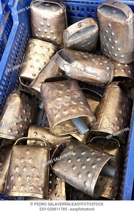 Cowbells for cattle at a local flea market, Biescas, Pyrenees, Huesca, Spain