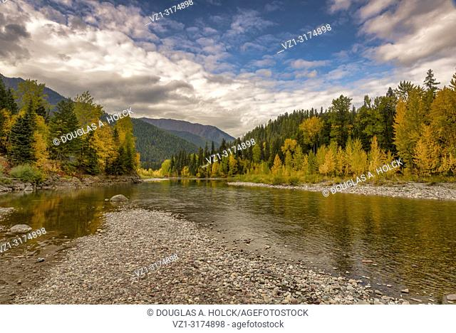 Fall on the Middle Fork of the Flathead River Glacier National Park USA