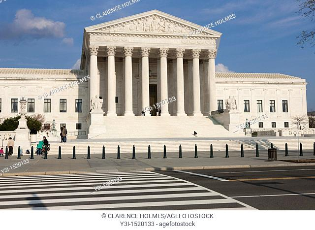 The Neoclassical US Supreme Court Building on 1st Street NE in Washington, DC, USA