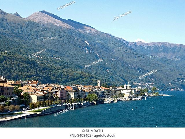 View of Cannobio and Lago Maggiore, Piedmont, Italy, elevated view