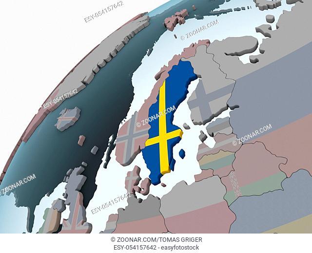 Sweden on political globe with embedded flag. 3D illustration