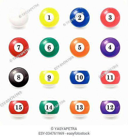 Complete set of billiard balls on a white background. EPS 10