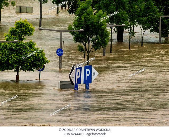 Hochwasser 2013. Linz, Österreich. Überflutung und Überschwemmung