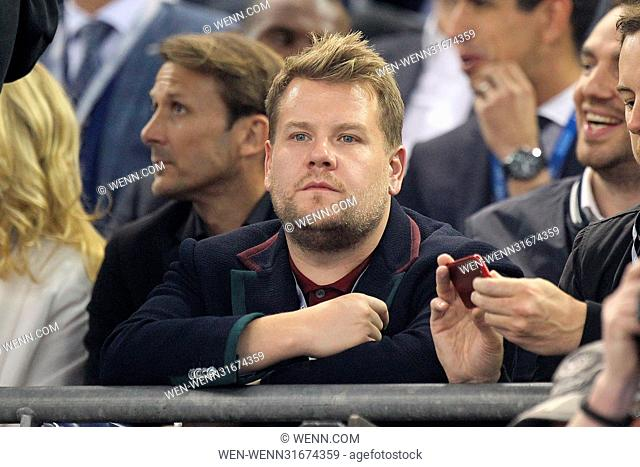James Corden pictured at the UEFA Champions League Final in Cardiff Featuring: James Corden Where: Cardiff, United Kingdom When: 04 Jun 2017 Credit: WENN