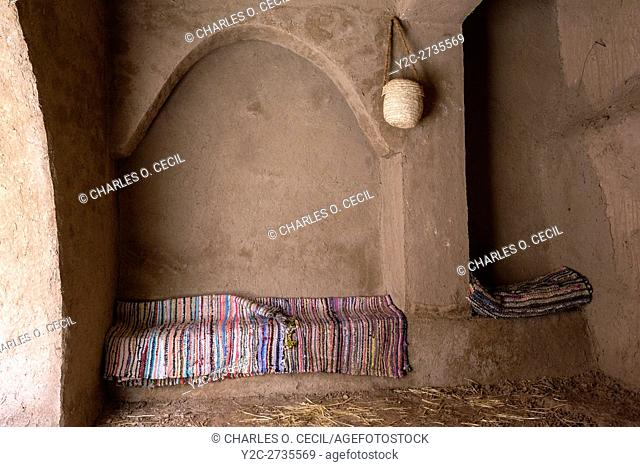 Kasbah Ameridhil, near Skoura, Morocco. Conversational Nook near One of the Entrances to the Ksar