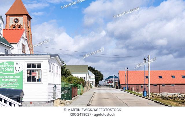 Stanley, the capital of the Falkland Islands in the South Atlantic. Main street. South America, Falkland Islands, January