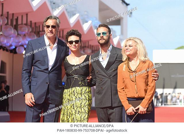 29.08.2018, Italy, Venice: Actors Max Tortora, (l-r) Jasmine Trinca, Alessandro Borghi and Milvia Marigliano can be seen at the opening of the Lido Red Carpet...