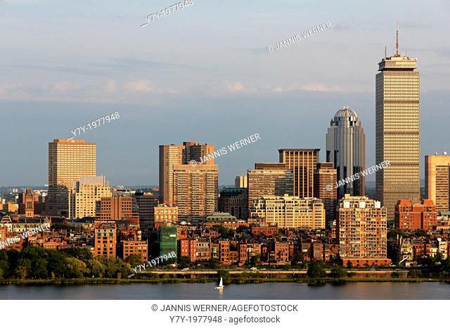 Skyline of Boston Back Bay with the landmark Prudential Center