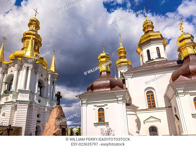 Bell Tower Far Caves Church Birth Blessed Virgin Holy Assumption Pechrsk Lavra Cathedra Kiev Ukraine. Oldest Ortordox Monastery In Ukraine and Russia