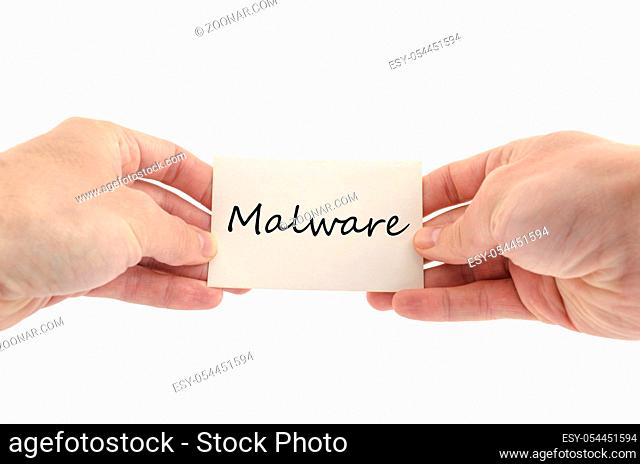 Malware text concept isolated over white background