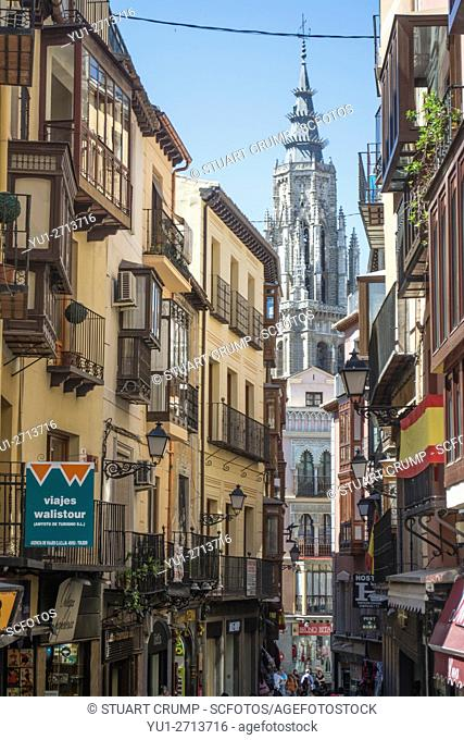 Traditional narrow street in front of Toledo cathedral